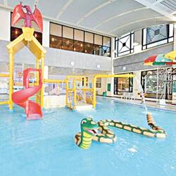何文田游泳池以侏羅紀公園為主題,有滑梯、小型瀑布及水恐龍。